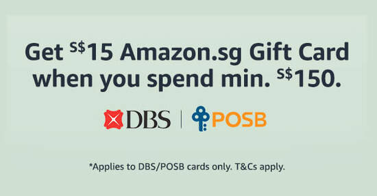Featured image for Amazon.sg: Get a S$15 Gift Card when you spend S$150 or more using DBS/POSB cards till 14 Jan 2021