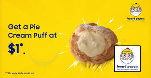 Beard Papa: Get a Pie Cream Puff at $1 for Samsung Members till 15 March 2021
