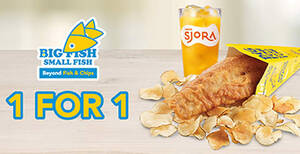 Big Fish Small Fish: Flash this image to enjoy 1 For 1 Fish & Crisps Set till 28 Feb 2021