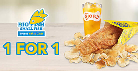 Featured image for Big Fish Small Fish: Flash this image to enjoy 1 For 1 Fish & Crisps Set till 28 Feb 2021