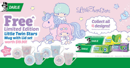 Darlie: Free Limited Edition Little Twin Stars Mugs with purchase of Darlie Double Action Toothpaste triple packs - 1