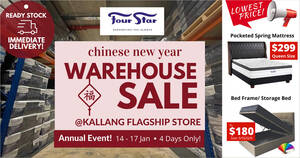 Four Star CNY WAREHOUSE SALE is happening from 14 – 17 Jan 2021 (4 days only)