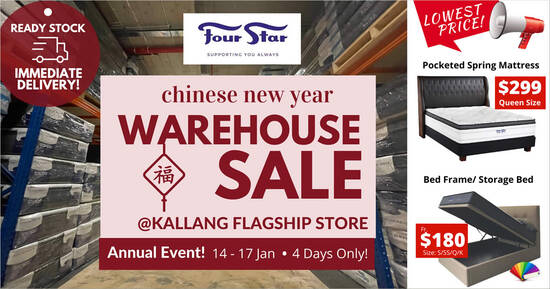 Featured image for Four Star CNY WAREHOUSE SALE is happening from 14 - 17 Jan 2021 (4 days only)