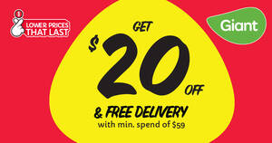 GIANT ONLINE: $20 OFF Your 1st 3 orders* till 19 March 2021