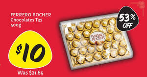 Giant is offering T32 Ferrero Rocher at just $10 (53% off) till 27 Jan 2021
