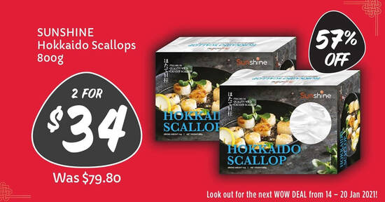 Featured image for Giant is offering 2-for-$34 (usual $79.80) Hokkaido Scallops till 13 Jan 2021