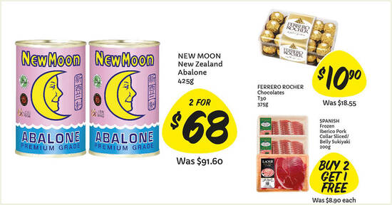 Featured image for Giant: 3-days offers - New Moon NZ Abalone, Frozen Bay Scallop 1-for-1, Ferrero Rocher & more till 3 Jan 2021
