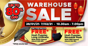 Hush Puppies Apparel Up To 80% Off Warehouse Sale from 28 Jan – 7 Feb 2021