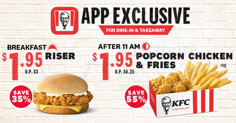 Featured image for KFC App Exclusive Deals: $1.95 Riser and $1.95 Popcorn Chicken & Fries for dine-in and takeaway orders till 31 Jan 2021