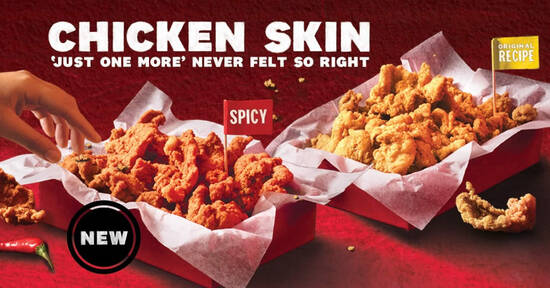 Featured image for KFC Chicken Skin is returning from Monday (4 Jan) in two flavours - spicy and original recipe