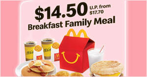 McDonald's: $14.50 Breakfast Family Meal deal from 18 – 20 Jan 2021