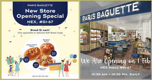 Featured image for Paris Baguette offering $1 soft bread and more at latest NEX outlet from 1 – 28 Feb 2021