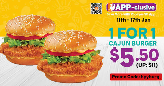Featured image for Popeyes is offering 1-for-1 Cajun Burger, 2 Cheese Fries for $3.50 (usual $7) and more till up to 31 Jan 2021