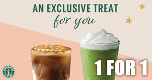 Starbucks: Enjoy a 1-for-1 treat on selected beverages from 25 – 28 Jan when you pay with your Starbucks Card