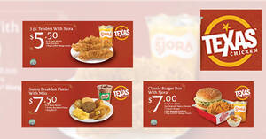 Texas Chicken: Enjoy set meals from $5.50 with these discount coupon deals valid till 31 May 2021