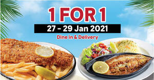 The Manhattan FISH MARKET is offering 1-for-1 deals via dine-in and delivery 27 – 29 Jan 2021