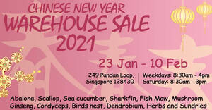 Wing Huat Loong CNY Warehouse Sale from 23 Jan – 10 Feb 2021