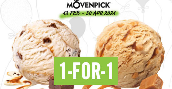 Featured image for 1-for-1 Movenpick Ice Cream (Somerset, Suntec, VivoCity) no min spend required till 30 April 2021