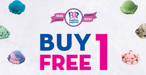 Baskin-Robbins: FREE 1 Single Junior flavour of the day with every Single Regular scoop purchased till 30 Mar 2021