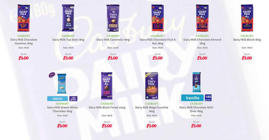 Featured image for Cadbury Chocolate Bars at $3 (usual $5.20), Twisties at 2-for-$3.95 (usual $5.70) and more at Giant till 3 Mar 2021