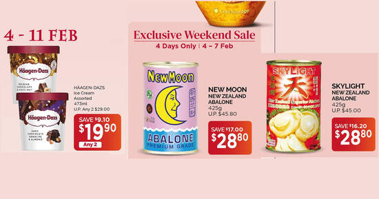 Featured image for Cold Storage: Haagen-Dazs @ 2-for-$19.90, $29 New Moon NZ Abalone and more valid up to 11 Feb 2021