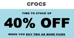 Crocs: Get 40% OFF when you buy two or more pairs + Free shipping on orders over $60 till 25 Feb 2021