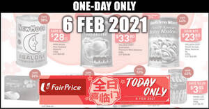 Featured image for Fairprice 1-day deals on 6 Feb: Abalone, Canada Scallops, Coca-Cola, Yeo's & More
