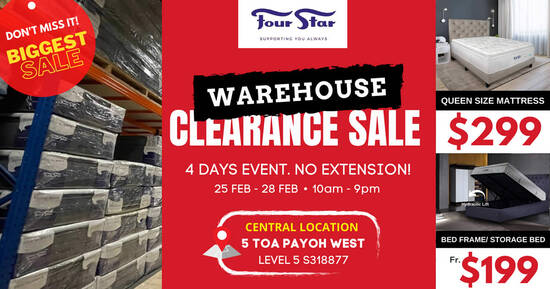 Featured image for Four Star ANNUAL CLEARANCE SALE at Toa Payoh Warehouse is happening from 25 - 28 Feb 2021
