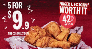 KFC: Colonel's Deal – Grab 5 pieces of crispy fried chicken for just $9.90 till 3 March 2021