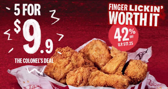 Featured image for KFC: Colonel's Deal - Grab 5 pieces of crispy fried chicken for just $9.90 till 9 March 2021