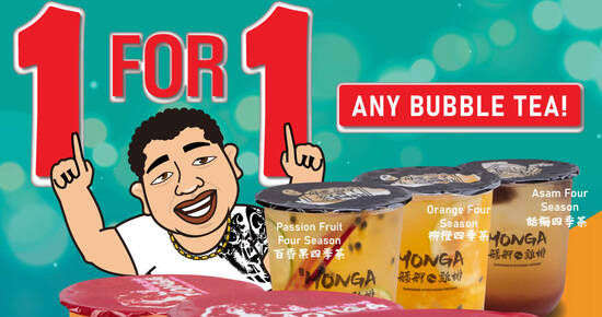 Featured image for Monga Singapore: 1 for 1 Fruity Bubble Tea for only $5.50 from 18 - 22 Feb 2021