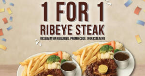 Morganfield's is offering 1-for-1 Ribeye Steak when you apply this promo code for your reservation (1 – 14 Mar)