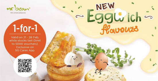 Featured image for Mr Bean: Enjoy 1 for 1 Eggwich when you log in via the SG Cares App from 21 - 28 February 2021