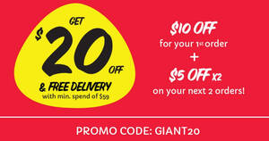 REMINDER: GIANT ONLINE: $20 OFF Your 1st 3 orders* till 22 March 2021