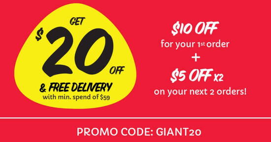 Featured image for REMINDER: GIANT ONLINE: $20 OFF Your 1st 3 orders* till 22 March 2021