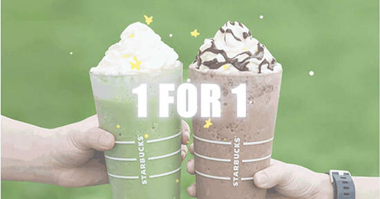 Featured image for Starbucks: Enjoy a 1-for-1 treat on selected beverages from 15 - 18 Feb when you pay with your Starbucks Card