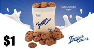 Famous Amos: $1 for any flavour of cookies (100g) for SAFRA members till 30 Apr 2021