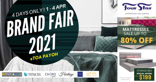 Featured image for Four Star Mattress Brand Fair 2021 offers discounts of up to 80% off! From 1 - 4 April 2021