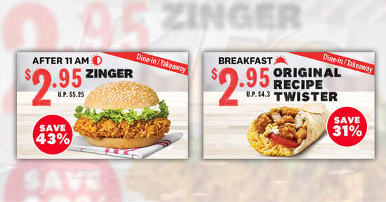 Featured image for KFC S'pore is offering $2.95 Zinger and $2.95 Original Recipe Twister for dine-in/takeaway till 6 May 2021
