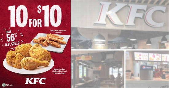 Featured image for KFC S'pore is offering a 10-pieces-for-$10 deal for dine-in, takeaway and delivery from 26 March 2021