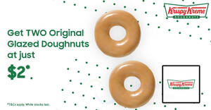 Featured image for Krispy Kreme: Get a pair of Original Glazed Doughnuts for just $2 for Samsung Members till 31 May 2021