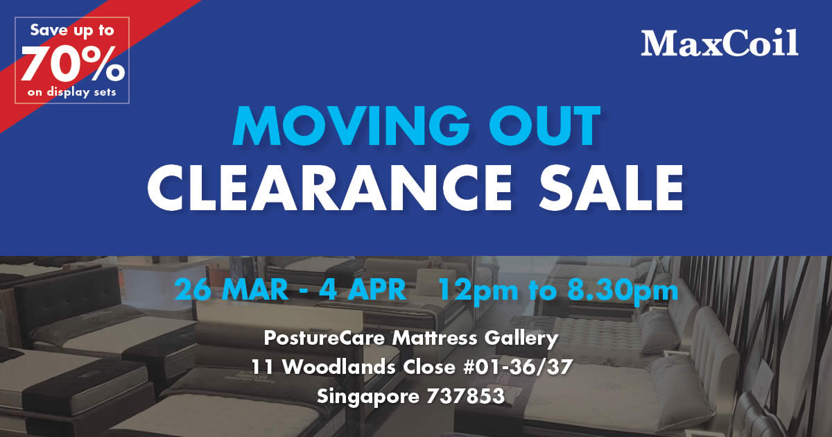 Featured image for MaxCoil Moving Out Clearance Sale from 26 Mar - 4 Apr 2021