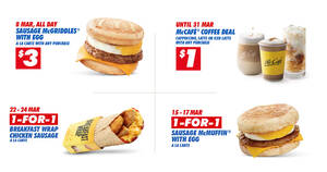 McDonald's S'pore will be offering 1-for-1 deals and more on selected days from 8 – 24 Mar 2021