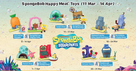 Featured image for McDonald's latest Happy Meal toys features Spongebob till 14 April 2021