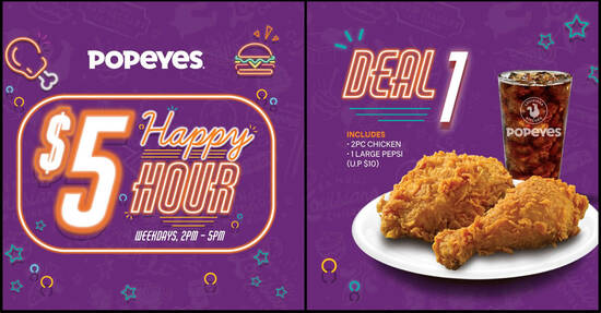 Featured image for Popeyes: Enjoy $5 deals (usual up to $10.30) when you dine-in from 2pm - 5pm weekdays (From 16 Mar 2021)