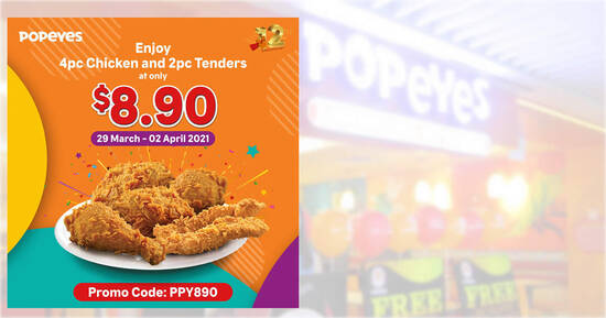 Featured image for Popeyes S'pore celebrates 12th anniversary with a deal: $8.90 for 4pc chicken + 2pc tenders till 2 April 2021