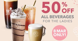 The Coffee Bean & Tea Leaf is slashing 50% off all beverages for ladies on 8 March 2021
