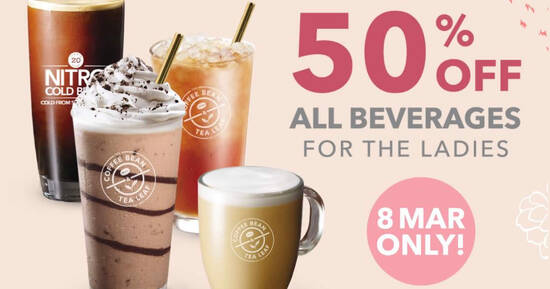 Featured image for The Coffee Bean & Tea Leaf is slashing 50% off all beverages for ladies on 8 March 2021