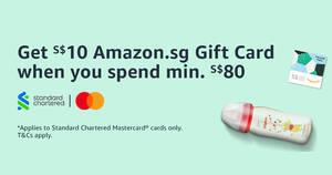 Featured image for Amazon.sg: Get a S$10 Gift Card when you spend S$80 or more using SCB cards till 7 Apr 2021