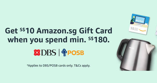 Featured image for Amazon.sg: Get a S$10 Gift Card when you spend min S$180 using DBS/POSB cards every Wed till 30 Sep 2021